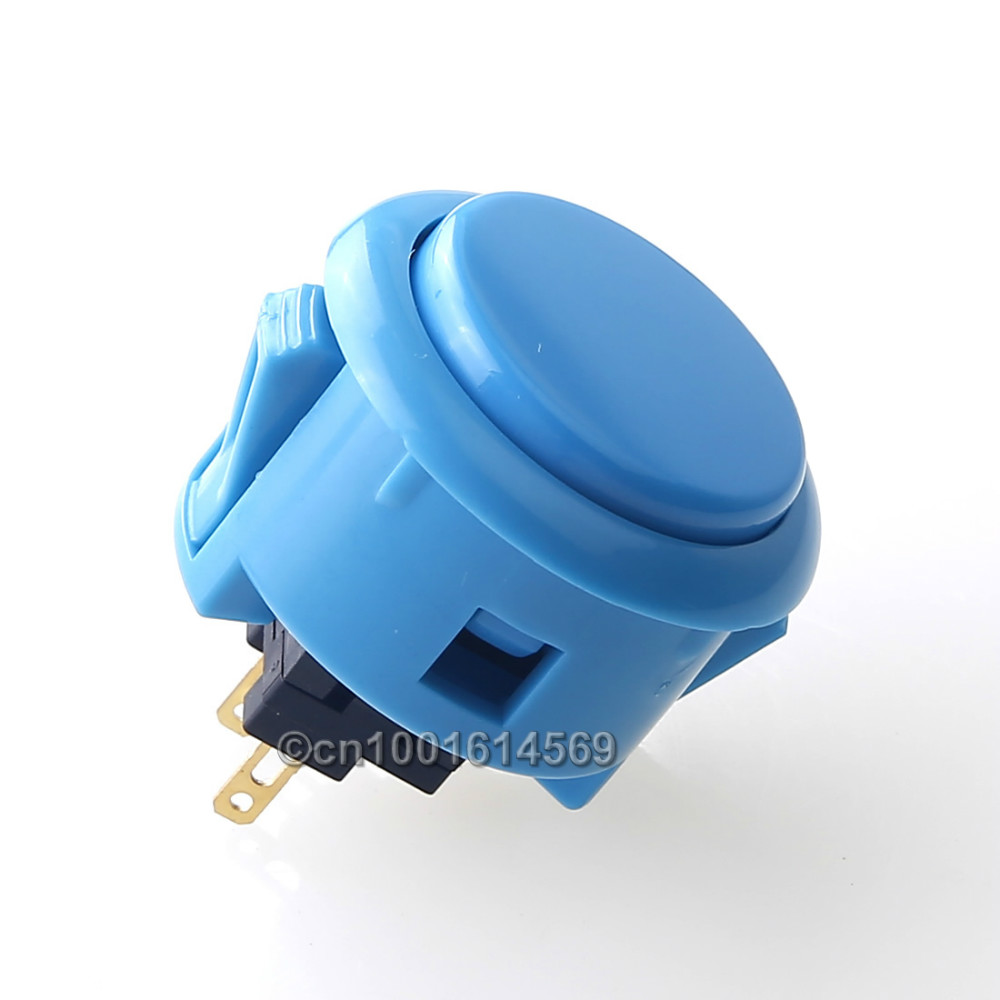 6pcs Japan Genuine Sanwa Kits OBSF-30 Buttons 30mm Arcade Buttons For PC Joysticks Raspberry PI 1 2 3 Retropie 3B Project - Blue