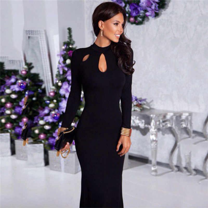 ผู้หญิง Vintage O คอยาวชุดใหม่ Elegant สีทึบแขนยาว vestidos ลำลองฤดูใบไม้ร่วงฤดูหนาวฤดูใบไม้ผลิยาว Maxi ชุด