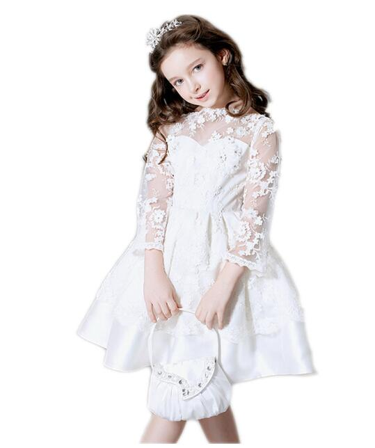 Girls Wedding Formal Dresses 2018 Long Sleeve Lace Flowers Girls Princess Dress Children's Tutu Kids Birthday Party Dress White half sleeve toddler girls show performance lace flowers white christening noble wedding princess bowknot party formal dress