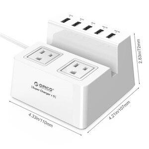 Image 4 - Смарт розетка ORICO Power Strip для зарядки настольного зарядного устройства с 2 выходами переменного тока и 5 usb портами для телефонов, планшетов и настольных компьютеров (ODC)