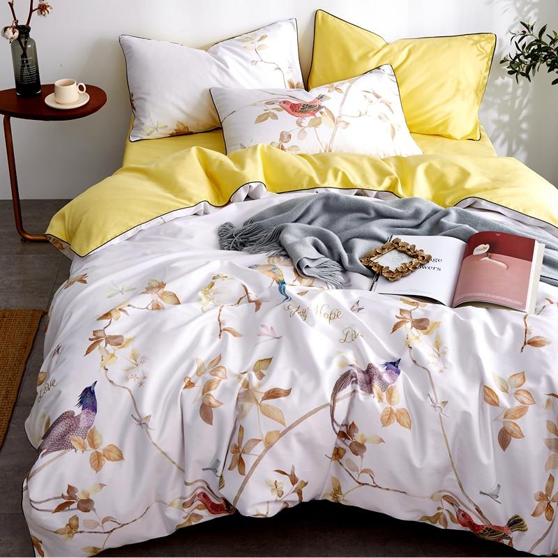 Pillowcases Duvet-Cover-Set Sheet Wedding-Bedding-Sets Egyptian Cotton King Queen Twin