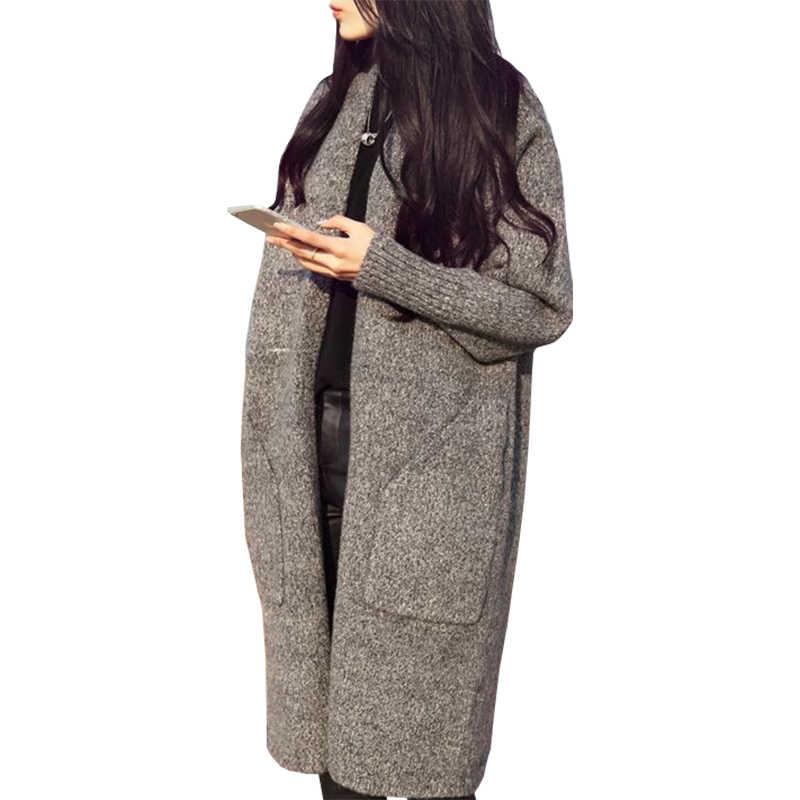 معطف صوف كوري موضة الخريف الجديدة سترة طويلة للنساء سميكة للنساء منسوج سترة صوفية ملابس vestidos LXJ228