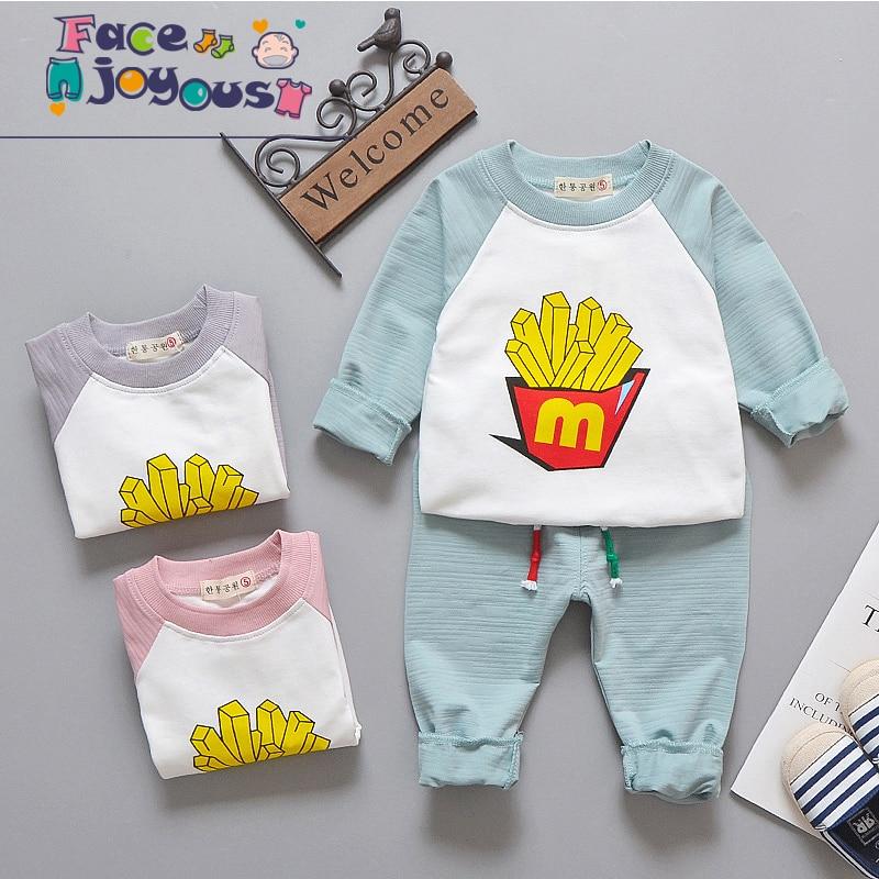 2018 Spring Autumn New Kids 2pcs Sports Suit Fashion Baby Cartoon Cartoon Fries Tracksuit Children Clothing Set