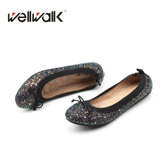 2018 Round Toe Ballet Flats Bling Ballerinas Flexible Comfortable Casuel Women  Flats Fashion Spring Autumn Women Shoes 87ecbd98a28b