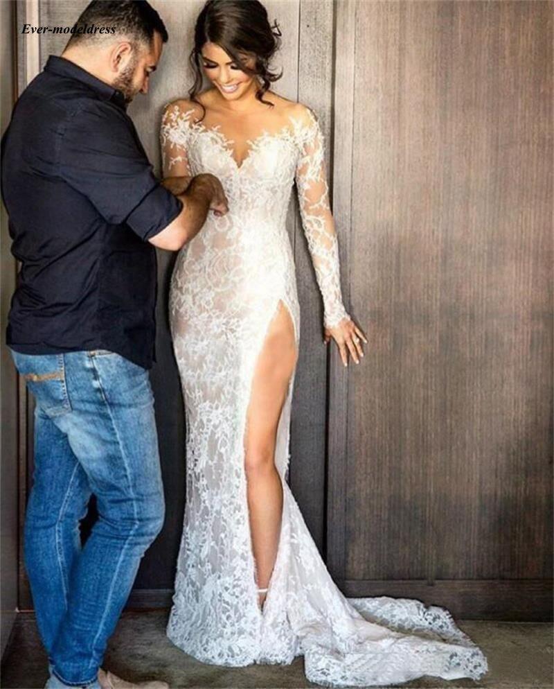 Sexy Lace Mermaid Wedding Dresses 2019 Illusion Appliques Long Sleeves Detachable Train Bride Dress Customized Vestido De Noiva