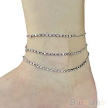 Hot Crystal 3 Rows Rhinestone Anklet Chain Ankle Bracelets Foot Jewelry 1G7I 7GER BDU4