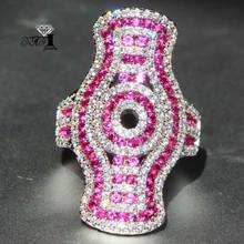 YaYI biżuteria księżniczka Cut 5 8 CT czerwony cyrkon kolor srebrny pierścionki zaręczynowe obrączki obrączki ślubne dziewczyny pierścionki Party prezenty tanie tanio Moda Zaręczyny Zespoły weselne Kobiety Cyrkonia TRENDY 20mm HR792 Prong ustawianie yayi jewelry Geometryczne Miedzi NONE