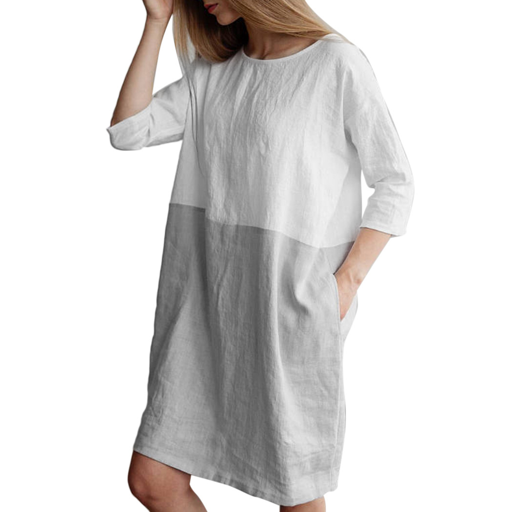 Preppy Style Cotton Linen Dress Women Patchwork 34 Sleeve Baggy Dress Plus Size Female Loose Tunic Long Tops Dresses Vestidos