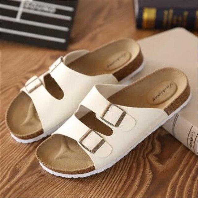 Fashion New Summer Cork Sandals Casual Men Mixed Color Flip Flops Shoes Zapatos Hombre Sandalias Plus Size 35-46 white black red