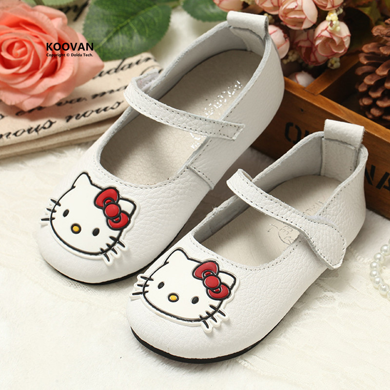 Koovan Children Flats 2017 Real Leather Children s Shoes Korean Shoe Girl Kitty Cats Princess First