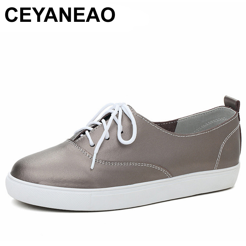 CEYANEAONew Arrival Women Casual Shoes Cow   Leather   Solid Women's Loafers Fashion Lace-Up Woman Flat Shoe Flexible Spring Autumn