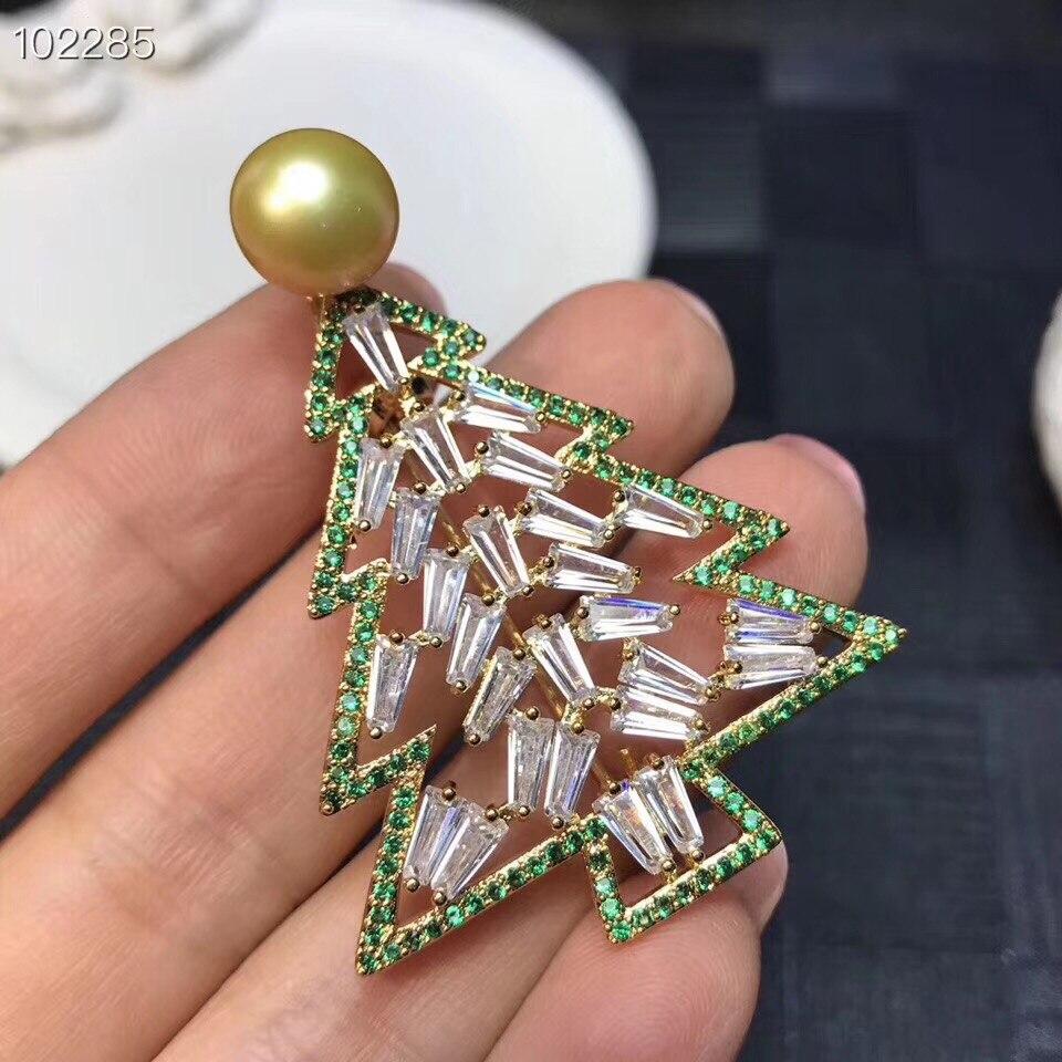 14 Karat Gelb Gold Natürliche Und Echte Perle Brosche Freies Verschiffen Natürliche Reale Perle Brosche