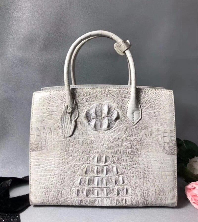 Classical Designer Real Crocodile Skin Alligator Leather Female White Totes Solid Handbag Ladies Women's Large Shoulder Bag цена