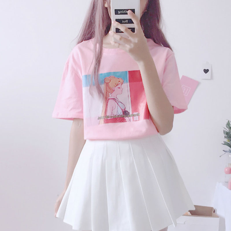 Harajuku Kawaii Pink White T Shirt Tops Women Summer 2018