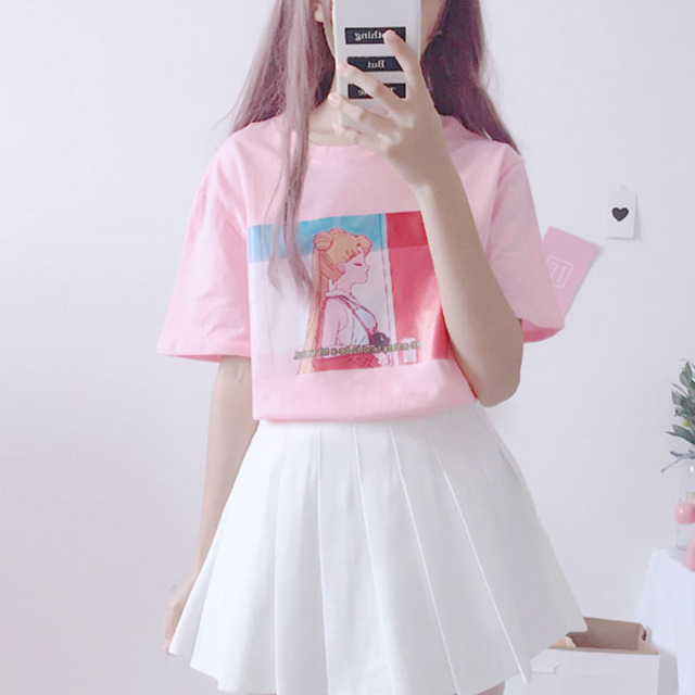 88799adf358 Harajuku Kawaii Pink White T Shirt Tops Women Summer 2018 Korean Ulzzang  Lolita Style Loose Tshirt Schoolgirl Cute Clothes G304
