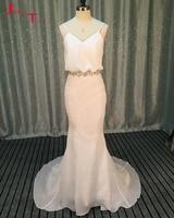 Jark Tozr Vestidos Madrinha De Casamento V Neck Spaghetti Straps Crysstal Beads Sashes White Mermaid Bridesmaid