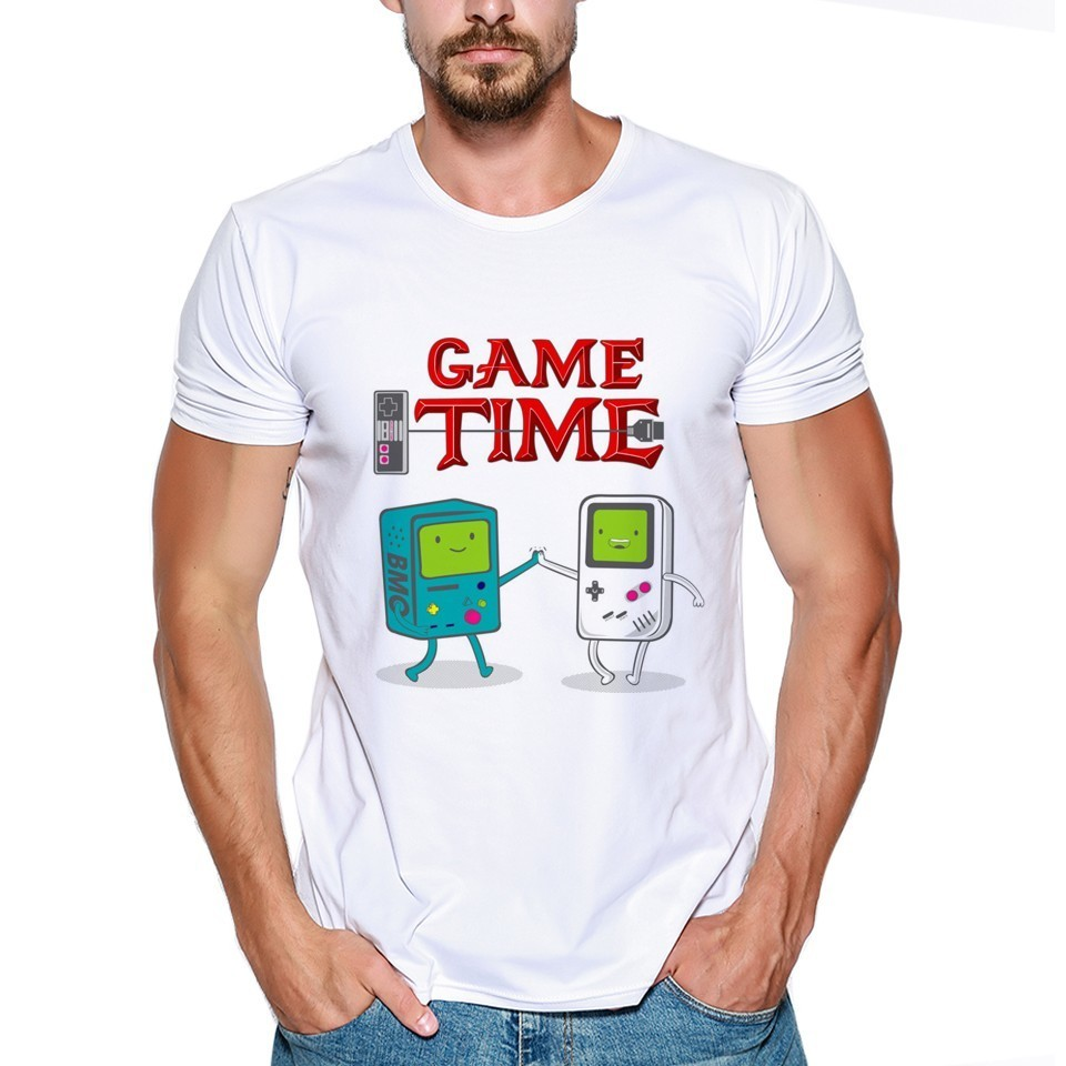 Cartoon Game Time Printed Mens Funny Video Game T-Shirts size S-3XL