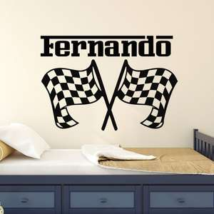 Nursery Decor Personalized Name Wall Sticker Car Racing Wall Decal Race Flags Wall Art Mural Removable Custom Name Decals AY1804