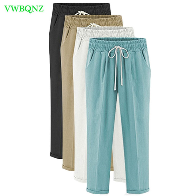 Plus size Women Nine points Pants New Summer Loose Cotton Casual Harem Pants Women's Thin Trousers Khaki Lake Green 5XL 6XL A676