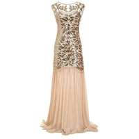 Vintage1920s Gatsby Flapper Beaded Sequins Maxi Long Sheer Dresses Sparkly Women Party Dress for Prom Theme Party