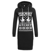 New Fashion 2017 Women Winter Clothing Casual Drawstring Hooded Long Sleeve Deer Pattern Fitness Print Pullover Long Hoodie
