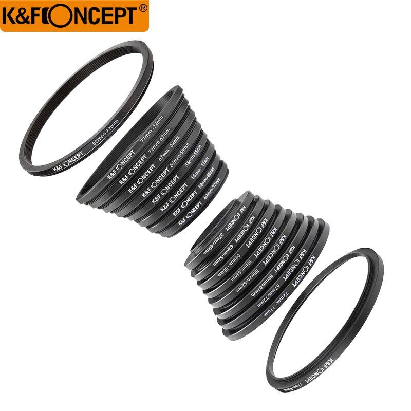 K & F KONZEPT 18 stücke Kamera Objektiv Filter Step Up/Unten Adapter Ring Set 37-82mm 82-37mm für Canon Nikon Sony DSLR Kamera Objektiv