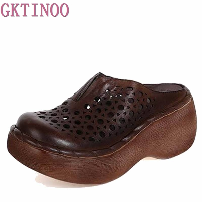 2018 Handmade Genuine Leather Women Platform Slides Wedge Sandals Cut Out Cover Toes Women Casual Summer Shoes