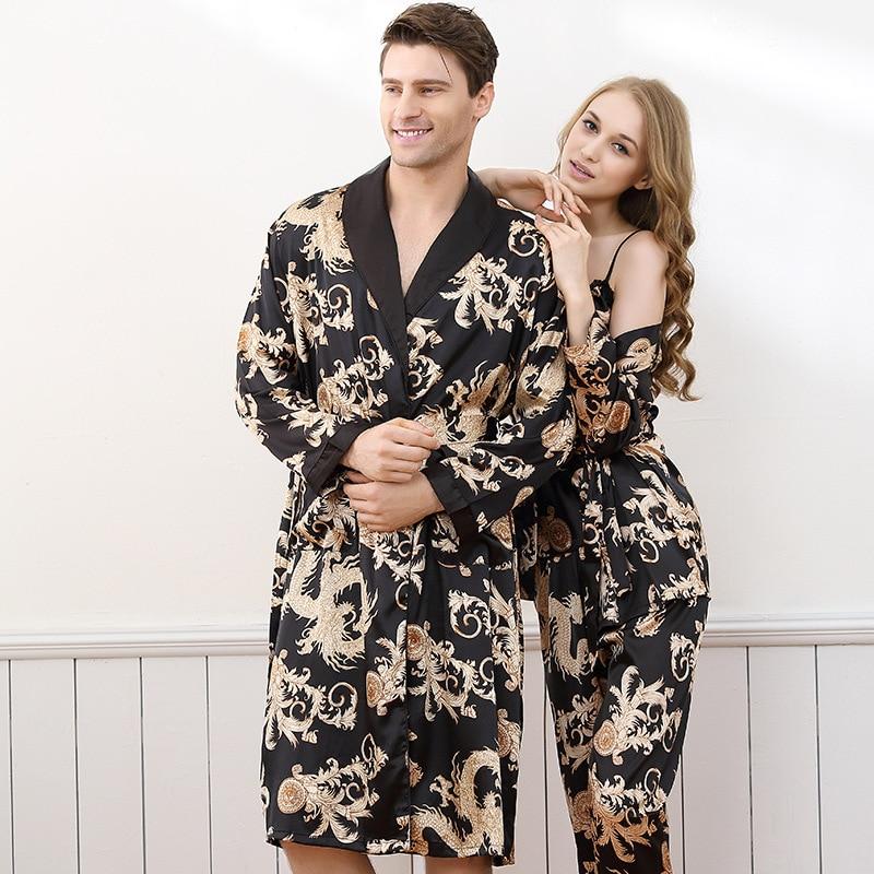 Luxury Summer Satin Silk Men's Robe Dragon Print Long-Sleeve Lovers Bathrobes Kimono V-Neck Silk Sexy Sleepwear Womens Robe Set