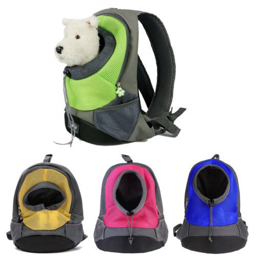 Pet Carrier Shoulders Back Front Pack Dog Cat Travel Bag Mesh Backpack Head out Design