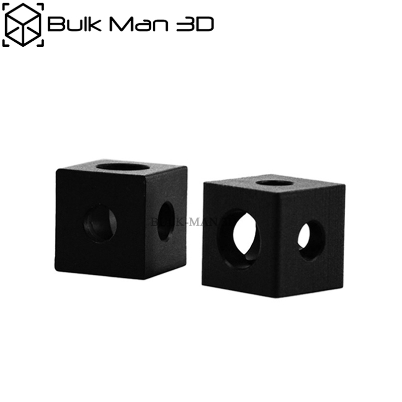 Black Anodized Three Way Cube Corner Connector Bracket Fit 20mm Aluminum Extrusions Profile 3D Prinnter