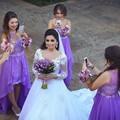 2016 Dynamic Lavender Bridesmaid Dresses Long Chiffon Sheer Back Appliques High Low Dress To Formal Party Floor Length Chiffon