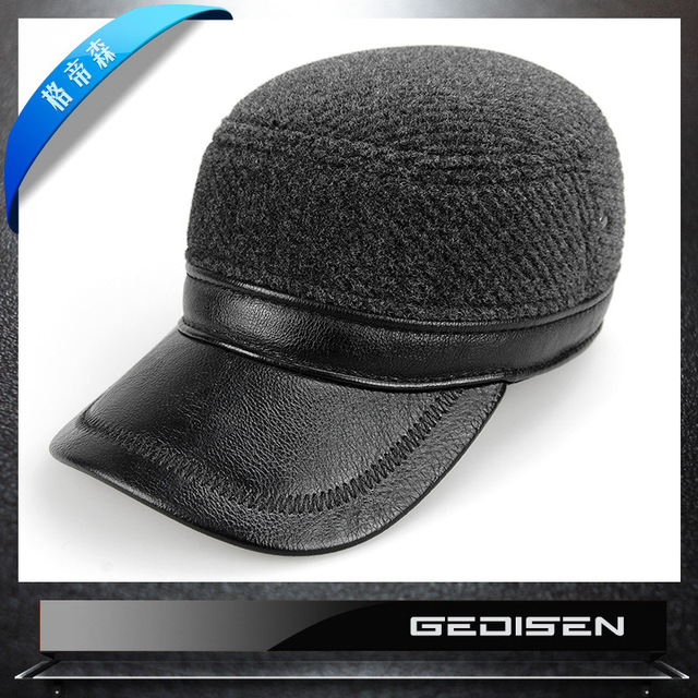 Men's Fashion Warm Hat Male Cotton Warm Baseball Cap Middle-aged Man Flat Hat Undertakes Eaves Stripe B-4552