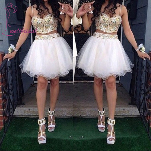 2016 Fashion Pageant Gown  Homecoming Dresses White 2 Piece Gowns Straps Crystal Beads short cocktail Party dress for women