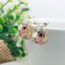 MENGJIQIAO Hot Sale Fashion Colorful Opal C Shaped Stud Earr