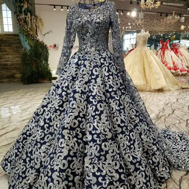 A-line prom with sequins o-neck long sleeves in formal evening dress back for