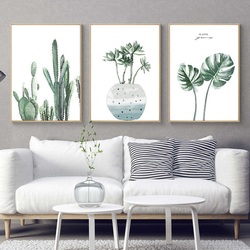 Nordic Poster Green Leaf Monstera Wall Art Canvas Painting Watercolour Plant cactus print Pictures for Living Room Home Decor
