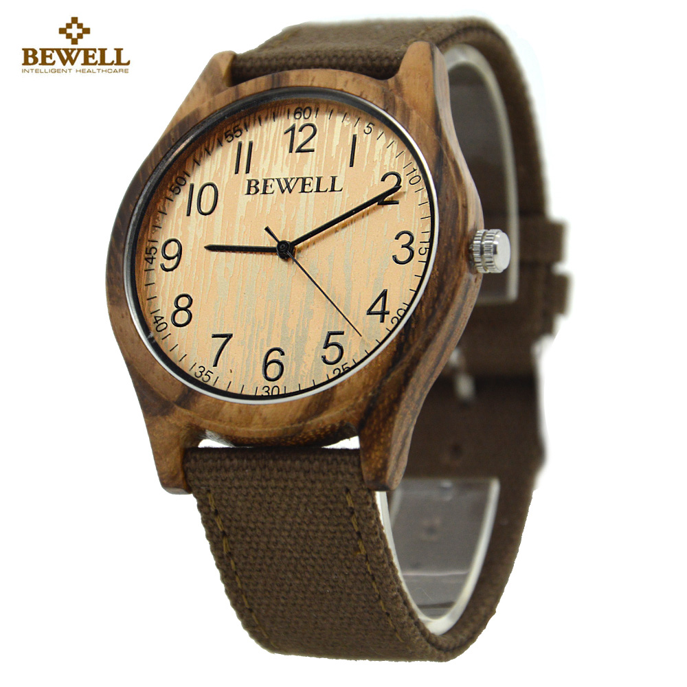 BEWELL Wood Watch Men Fashion Vintage Men Watches Casual Natural Canvas Watchband Men Wooden Clock With Paper Box relojes 124B bewell natural wood watch men quartz watches dual time zone wooden wristwatch rectangle dial relogio led digital watch box 021c