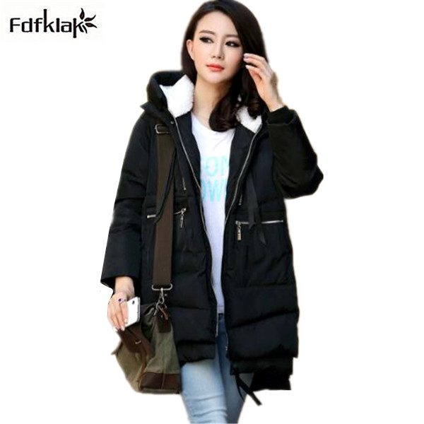 Large Size M-3XL 2017 Korean new Aarrivals Fashion Women jacket Hoody Long Style Warm Winter Coat Women Down Jackets Black E0675 studio m new white black women s size large l printed straight pencil skirt $78