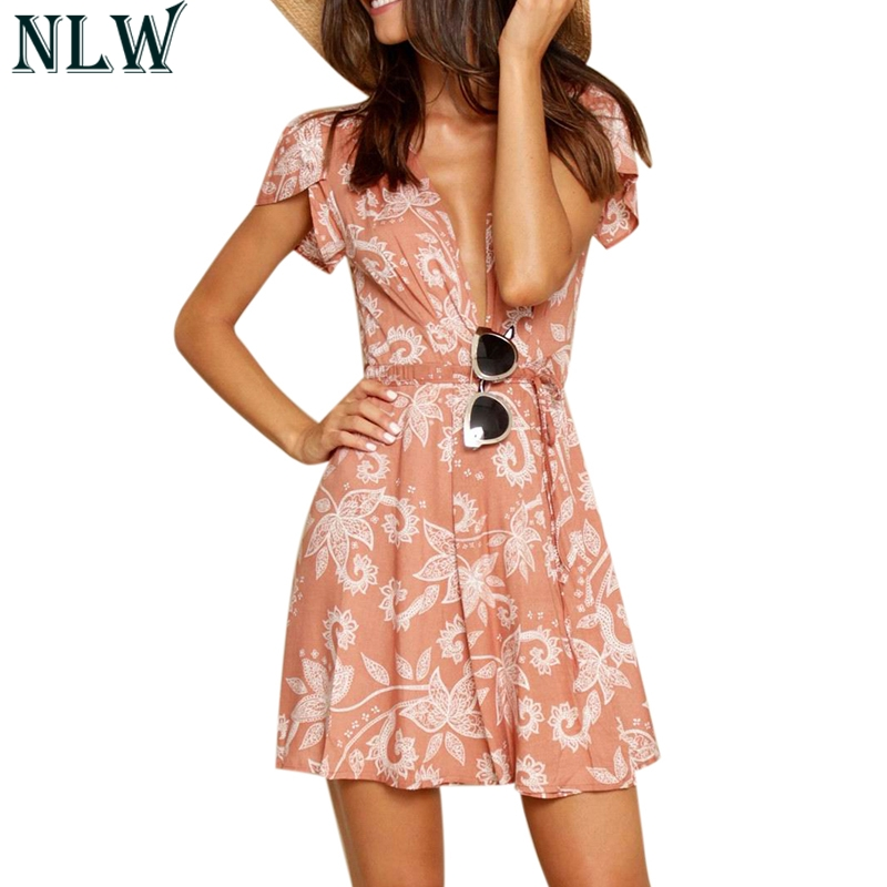 NLW Orange Print Mini Dress V Neck Summer Wrap Dress 2018 Women Boho Casual Sexy Short Sleeve Dress Beach Party Girl Vestidos