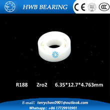 Free shipping  R188 open full ZrO2 ceramic deep groove ball bearing 6.35*12.7*4.763mm 6.35×12.7×4.763mm FOR YOYO HAND SPINNER