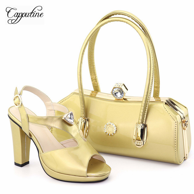 Capputine High Quality PU Leather Wine Color Woman Shoes And Bag Set Italian Pumps Shoes And Bags To Match Set For Party Dress