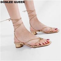 19 Summer Low Heel Ankle Strap Sandals Open Toe Gladiator Sandal Women Casual Lace Up Platform Shoes Narrow Band sandalias mujer