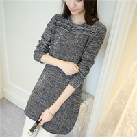 Winter 48 New Korean Version Of The Long Curling Round Flower Yarn Sweater Sleeve Head Women