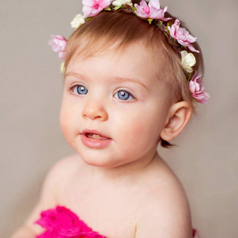 Baby Penoy Flower Headband Nylon Headbands For Girl Kids Seaside Resort Hairband Toddler Rattan Wreath Newborn Photo Props