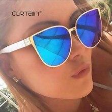CURTAIN 2019 New Oversize Cat Eye Sunglasses Women Fashion Summer Style Big Size Frame Mirror Sun Glasses Female Oculos UV400