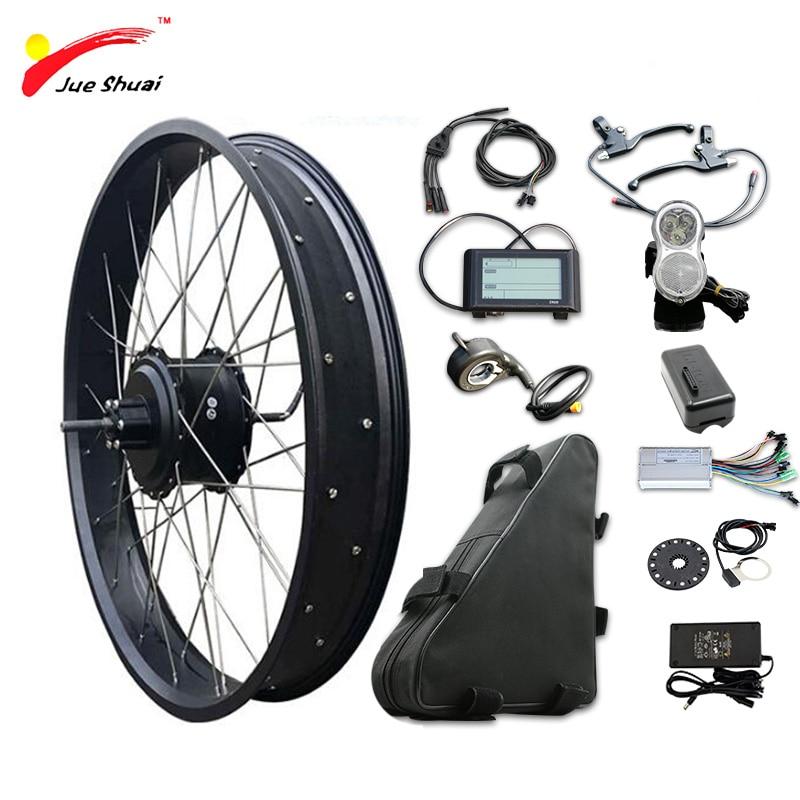 Alta velocidade 48 v 1000 w cubo traseiro do motor kit de conversão bicicleta elétrica e bicicleta kit pneu gordura 20