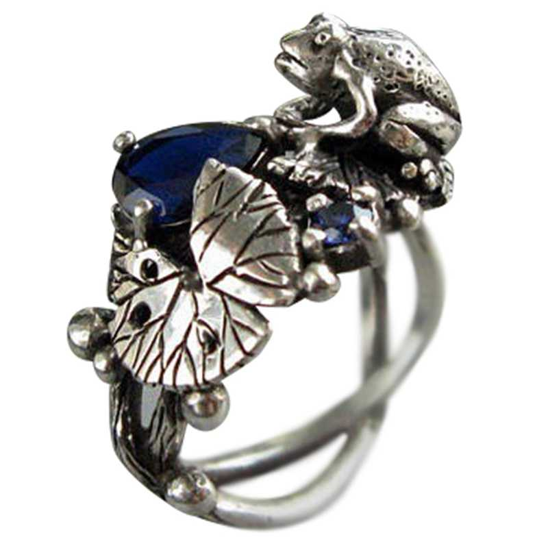 Women Vintage Jewelry Punk Rhinestone Inlaid Gift Lotus Frog Hollow Ring Band