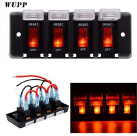 WUPP 12V 4 Gang Switch Panel ABS Waterproof LED Indicator Switch Panel Circuit Breaker Panel With