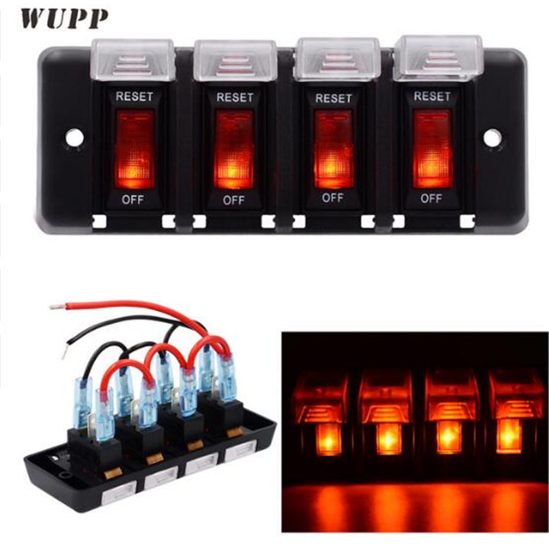 US $16 64 31% OFF|WUPP 12V 4 Gang Switch Panel ABS Waterproof LED Indicator  Switch Panel Circuit Breaker Panel With Sticker For Car Boat Marine-in Car