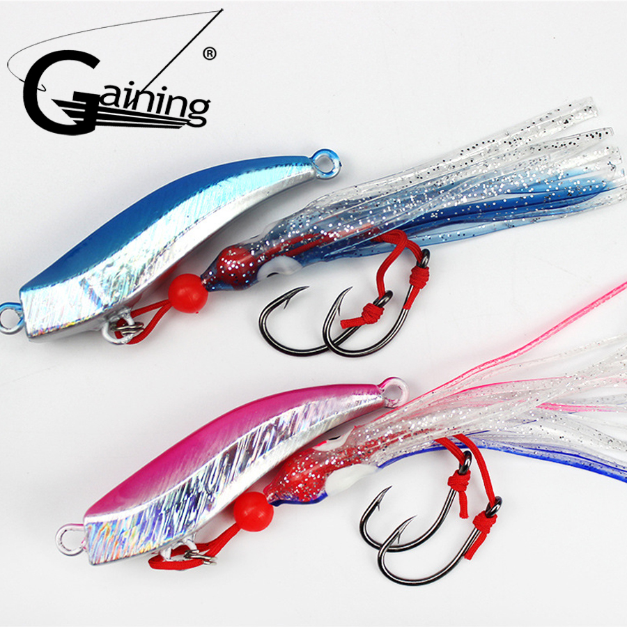 1pcs Octopus Fishing Lures  80g 100g Jig Slow Jig Bottom Ship Lures Metal and Octopus Skirt with Assist Hook Fishing Bait